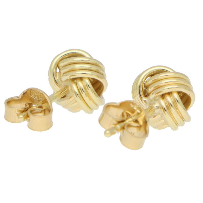 Woven Knot Stud Earrings in Yellow Gold