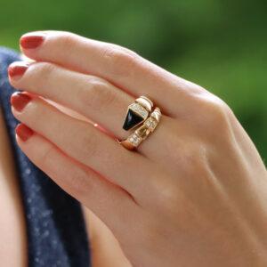 Vintage Bulgari Diamond and Onyx Serpenti Viper Ring