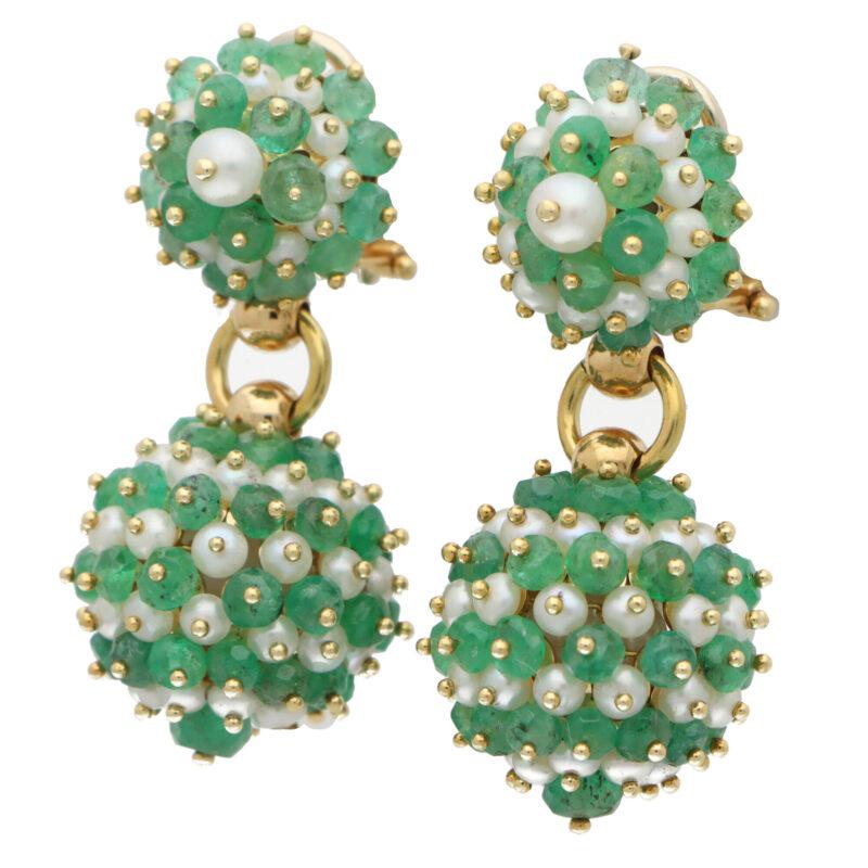 Vintage Emerald and Pearl Drop Earrings