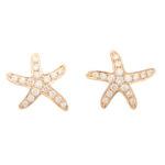 Small Diamond Starfish Stud Earrings in Rose Gold