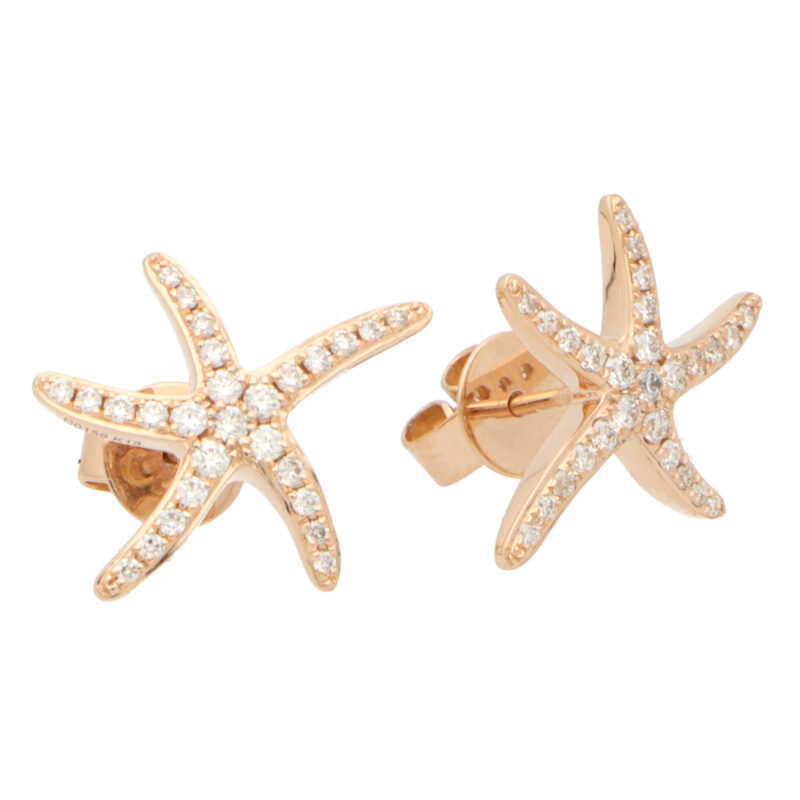 Large Diamond Starfish Stud Earrings in Rose Gold