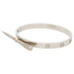 Vintage Cartier Love Bangle in White Gold Size 18