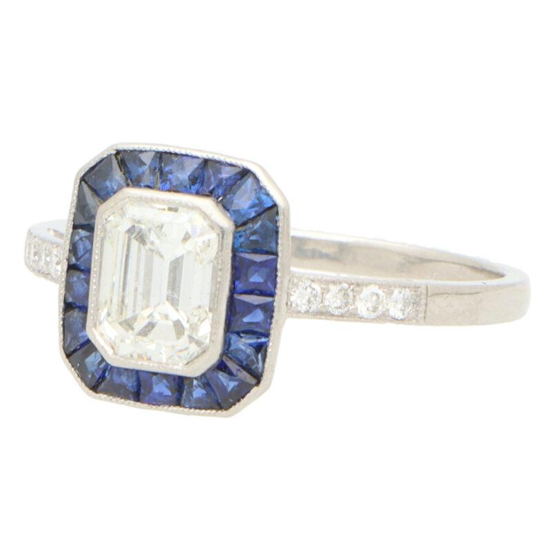 Art Deco Style Emerald Cut Diamond and Sapphire Target Ring