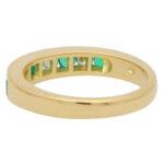 Emerald and Diamond Half Eternity Band Ring