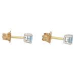 Round Cut 0.46ct Blue Aquamarine Stud Earrings
