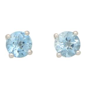 Round Cut 0.89ct Blue Aquamarine Stud Earrings