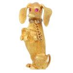 Vintage Ruby Eyed Dachshund Dog Brooch