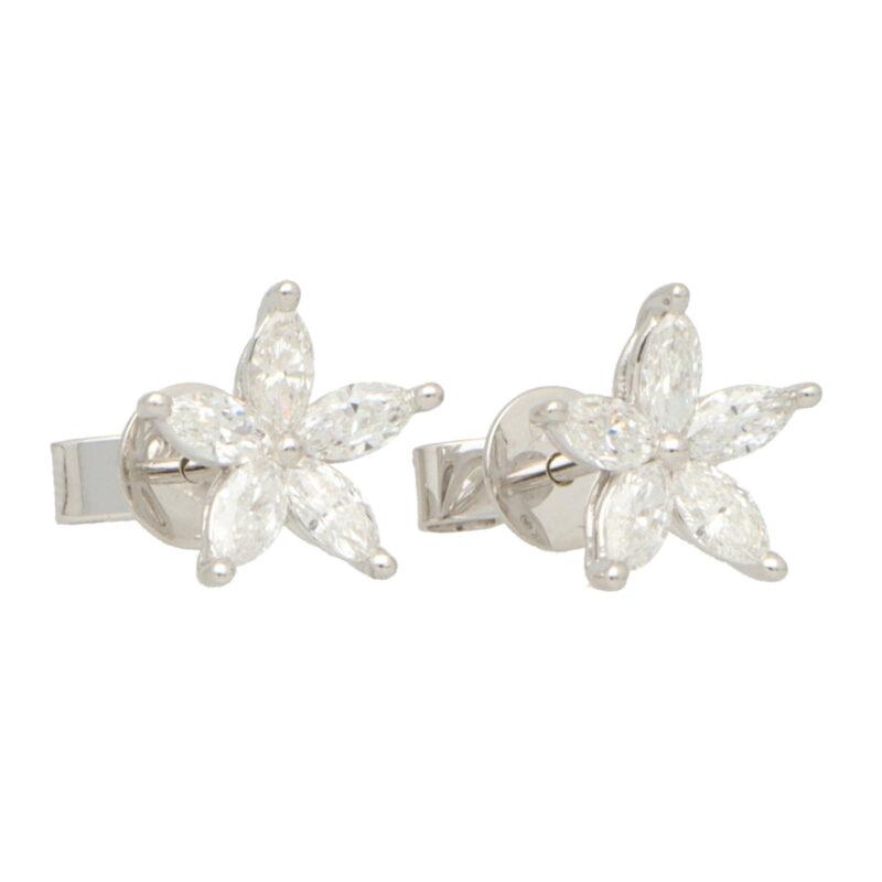 Marquise Cut Diamond Floral Stud Earrings