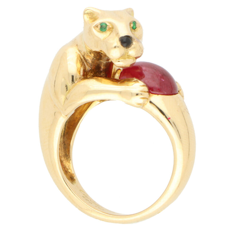 Vintage Panthère De Cartier Ruby and Emerald Panther Ring