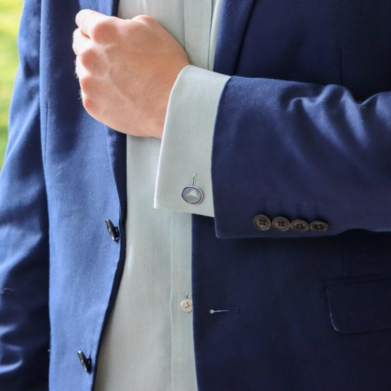 Blue and Grey Enamel Pheasant Cufflinks