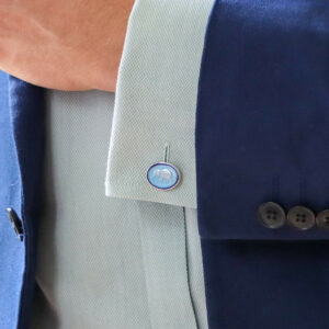 Navy and Light Blue Enamel Elephant Cufflinks