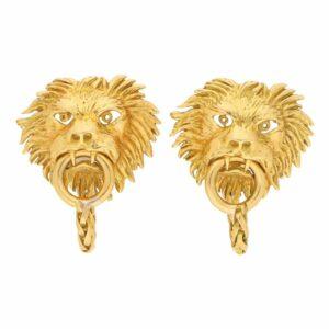 Vintage Boucheron Lion Door Knocker Cufflinks