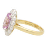 Certified Pastel Pink Sapphire and Diamond Cluster Ring