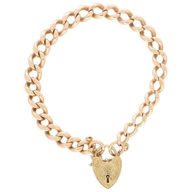 Vintage Georg Jensen Flat Curb Heart Lock Bracelet