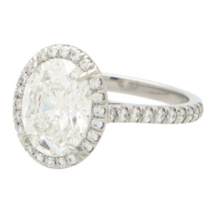 GIA Certified Contemporary Oval Cut Diamond Halo Ring