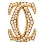 Vintage Cartier Double C Motif Diamond Brooch