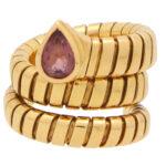Vintage Bulgari Tourmaline Tubogas Serpenti Coiled Snake Ring