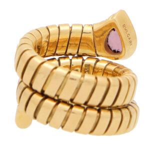 Vintage Bvlgari Tourmaline Tubogas Serpenti Coiled Snake Ring