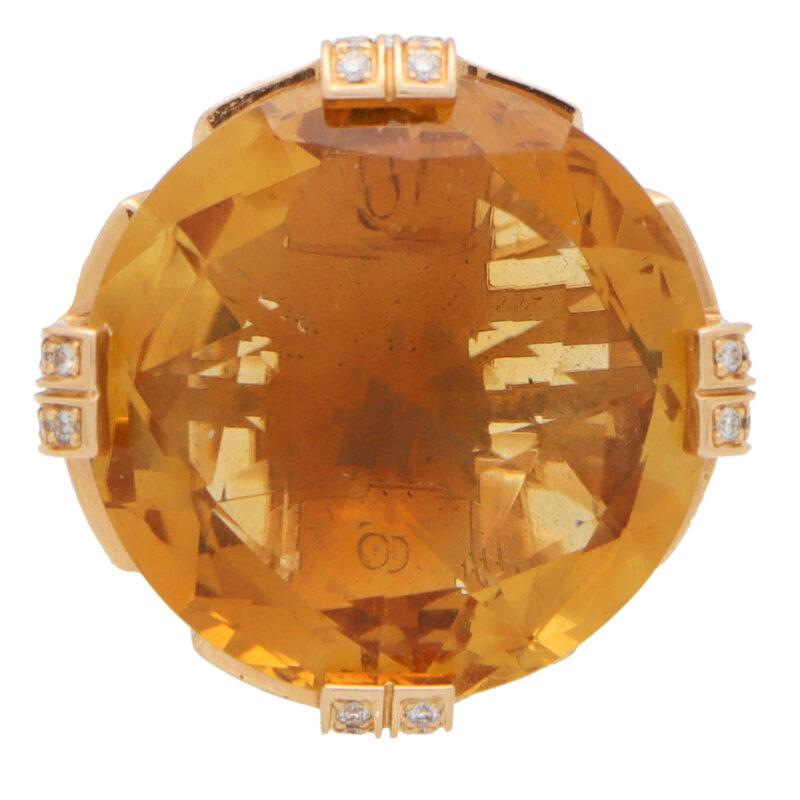 Vintage Bulgari Parentesi Citrine and Diamond Cocktail Ring