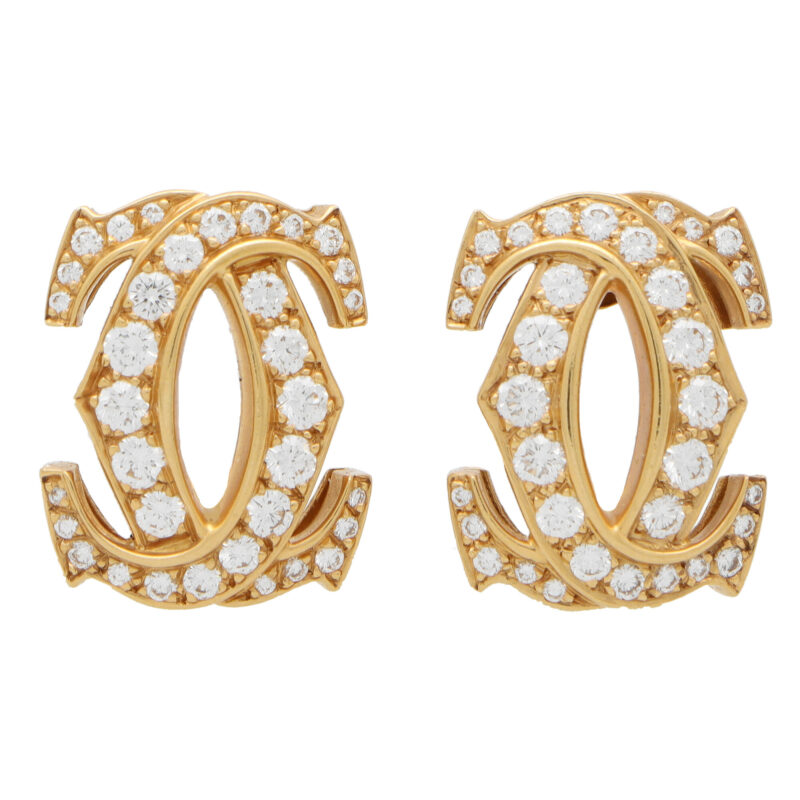 Vintage Cartier Double C Motif Diamond Earrings