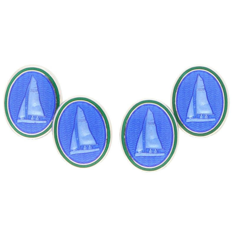Blue and Green Enamel Yacht Sailing Cufflinks