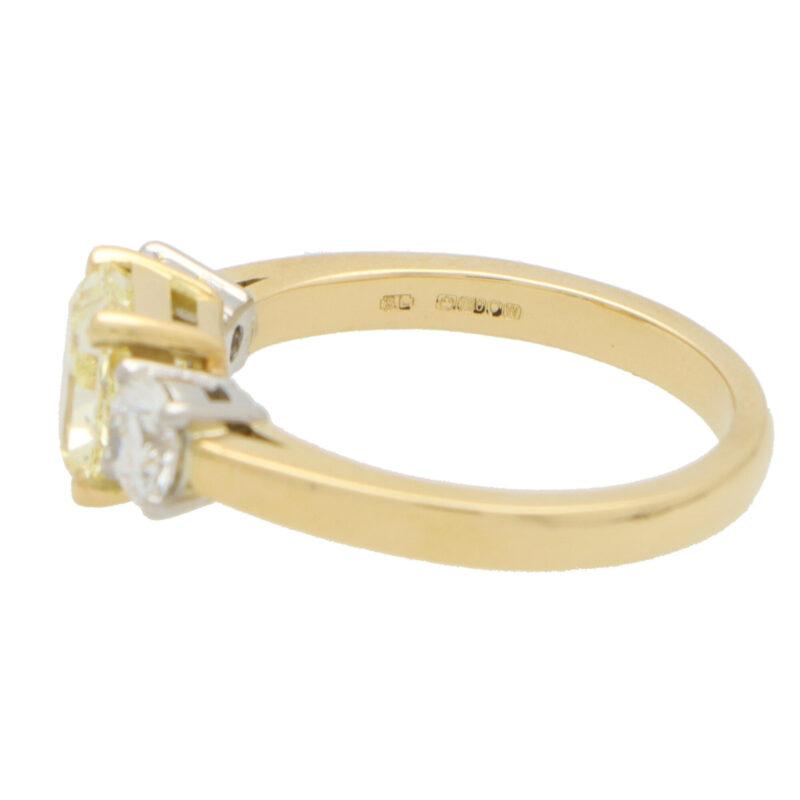 GIA Certified Fancy Yellow Diamond Three Stone Ring