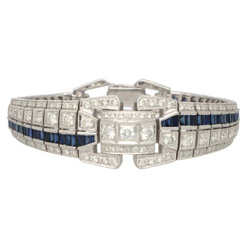 Art Deco Inspired Sapphire and Diamond Panel Bracelet