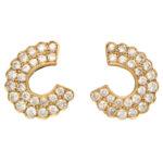 Vintage Diamond 'C' Half Hoop Earrings