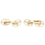 Art Deco Diamond Oval Clip Cufflinks