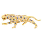 Vintage Sapphire and Diamond Panther Brooch