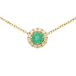 Emerald and Diamond Cluster Pendant Necklace