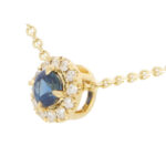 Sapphire and Diamond Cluster Pendant Necklace