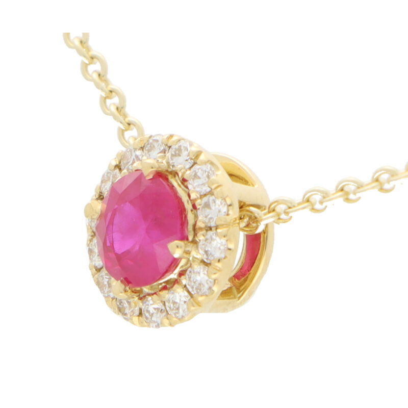 Ruby and Diamond Cluster Pendant Necklace