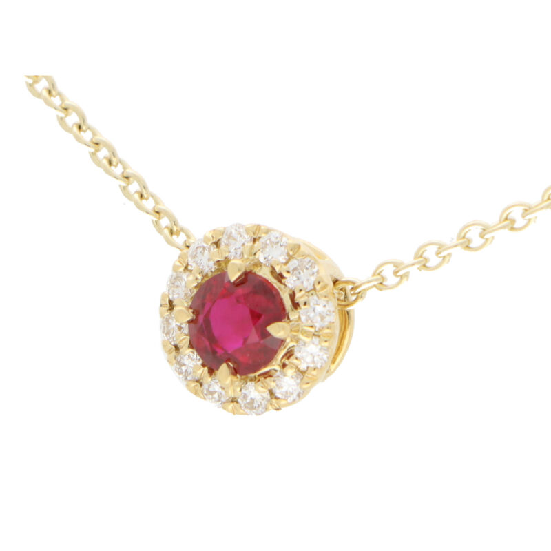 Ruby and Diamonds Cluster Pendant Necklace