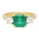 GIA  Certified Emerald and Diamond Three Stone Ring
