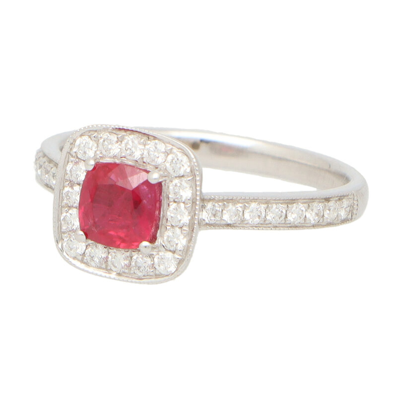 Ruby and Diamond Cushion Cluster Ring