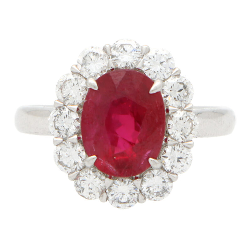 Ruby and Diamond Cluster Ring