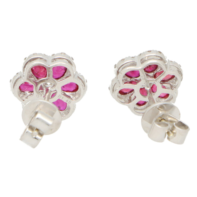 Ruby and Diamond Floral Cluster Earrings