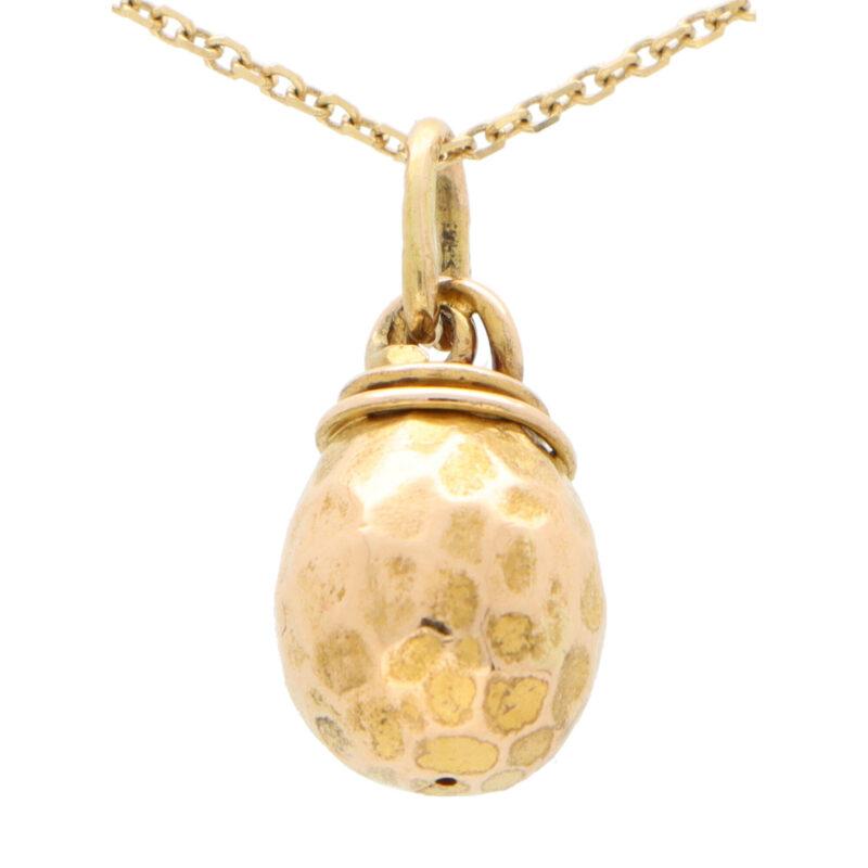 Vintage Russian Sapphire and Diamond Egg Pendant Charm