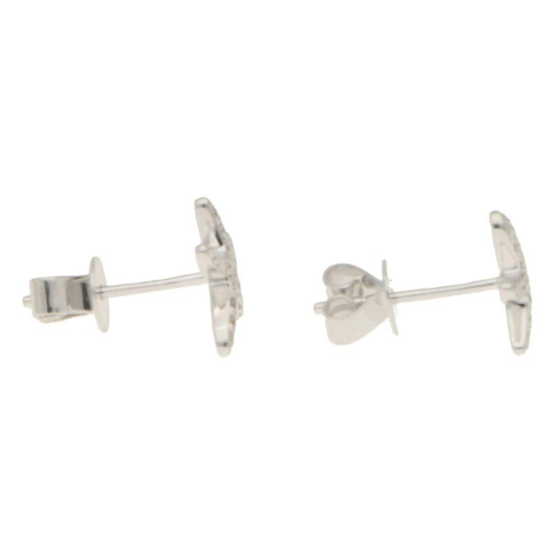 Small Diamond Starfish Stud Earrings in White Gold
