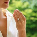 Aquamarine and Diamond Halo Cluster Ring