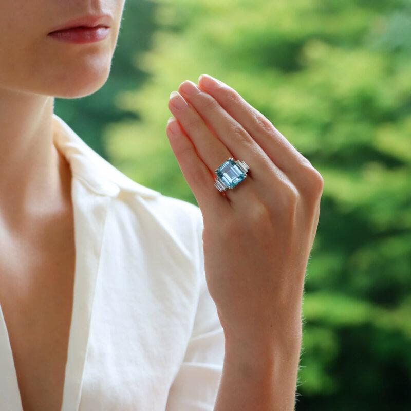 GIA Certified Art Deco Style Aquamarine and Diamond Ring