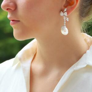 Baroque Pearl and Diamond Drop Earrings