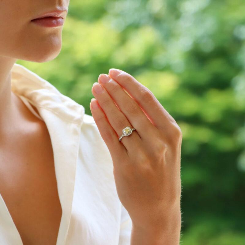Vintage Tiffany & Co. Soleste Yellow Diamond Halo Ring