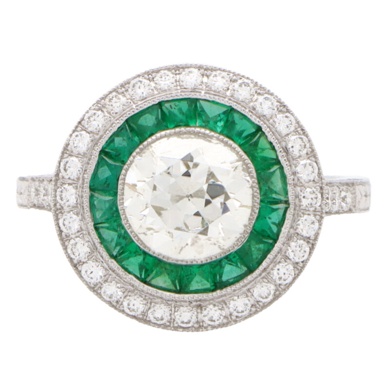 Art Deco Inspired Emerald and Diamond Target Halo Ring