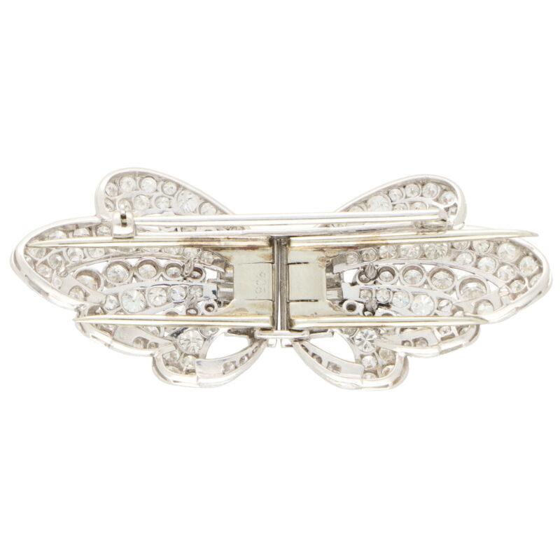 Art Deco Diamond Double Clip Bow Brooch