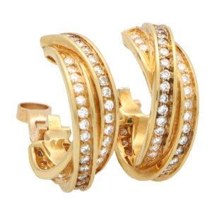 Vintage Cartier Diamond Trinity Hoop Earrings in Yellow Gold