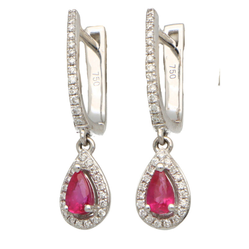 Ruby and Diamond Hoop Drop Earrings