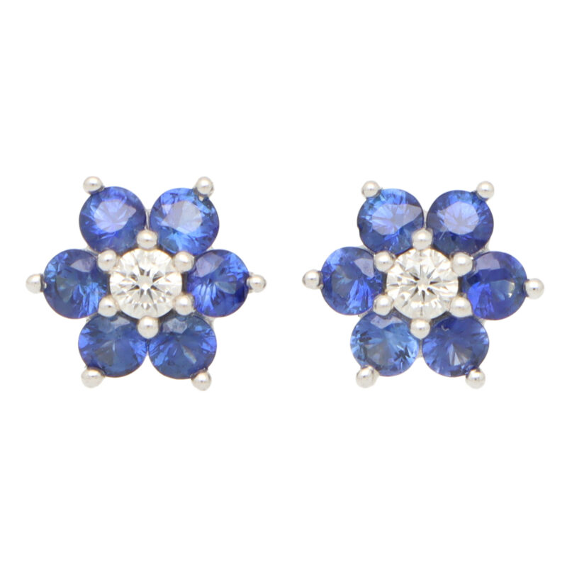 Sapphire and Diamond Floral Cluster Earrings