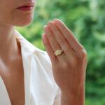 GIA Certified 3.51ct Fancy Yellow Diamond Three Stone Ring